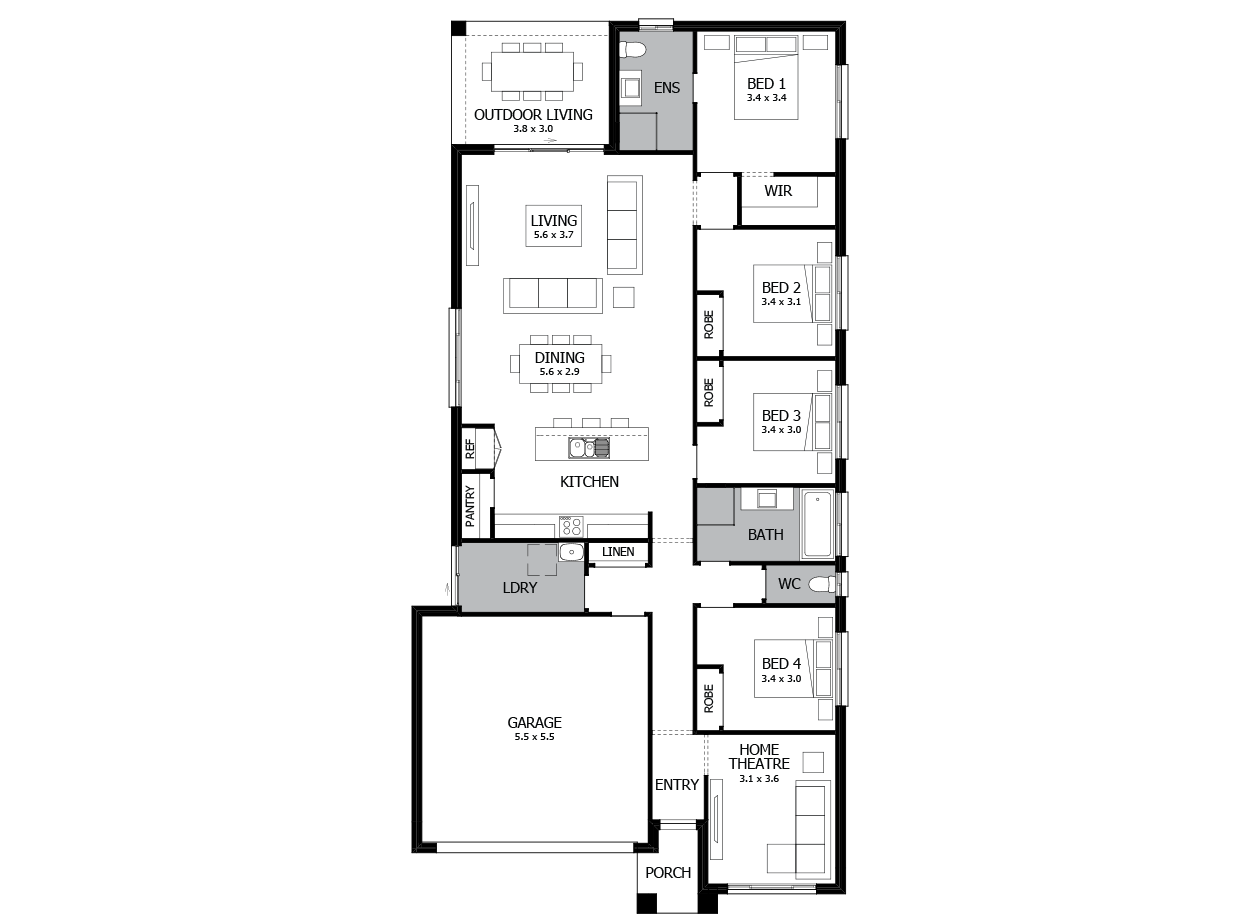 Hustle 22-Single Storey house design-4 Bedroom-LHS