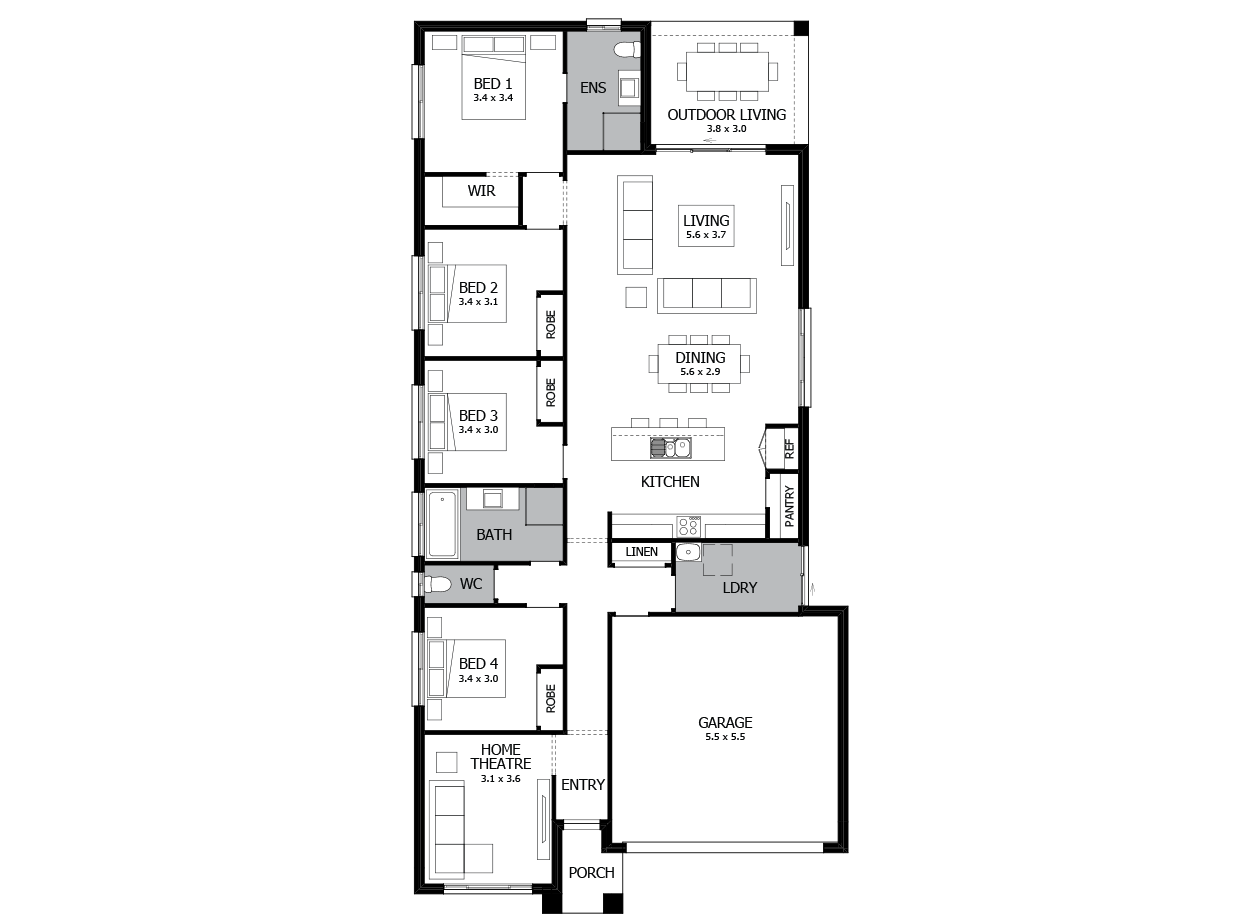 Hustle 22-Single Storey house design-4 Bedroom-RHS