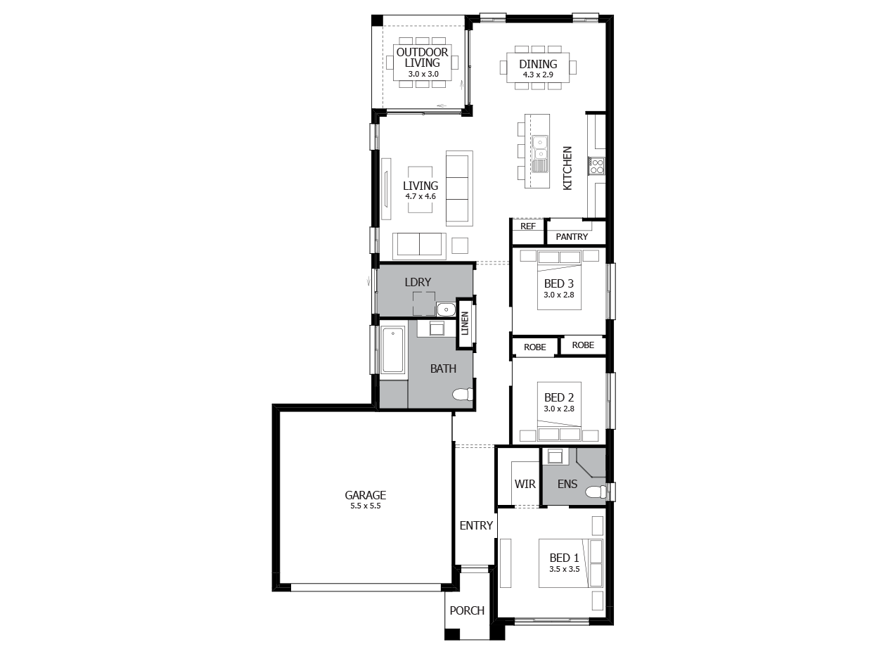 Jazz 18-Single Storey house design-4 Bedroom-LHS