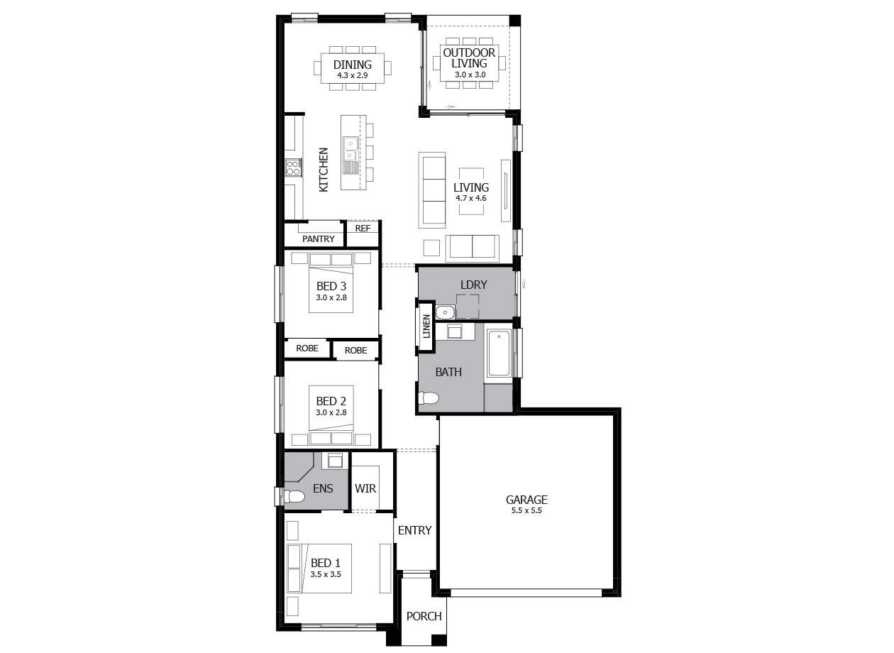 Jazz 18-Single Storey house design-4 Bedroom-RHS