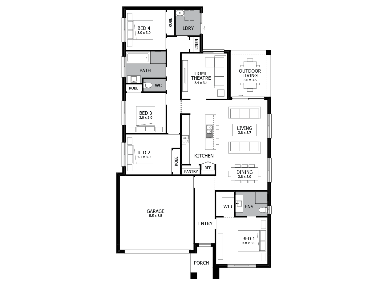Jive 21-Single Storey house design-4 Bedroom-LHS
