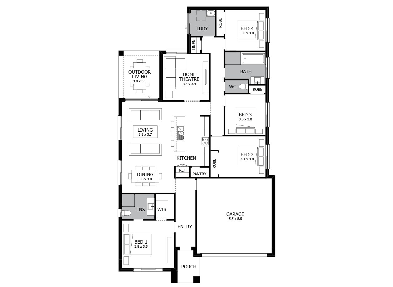 Jive 21-Single Storey house design-4 Bedroom-RHS