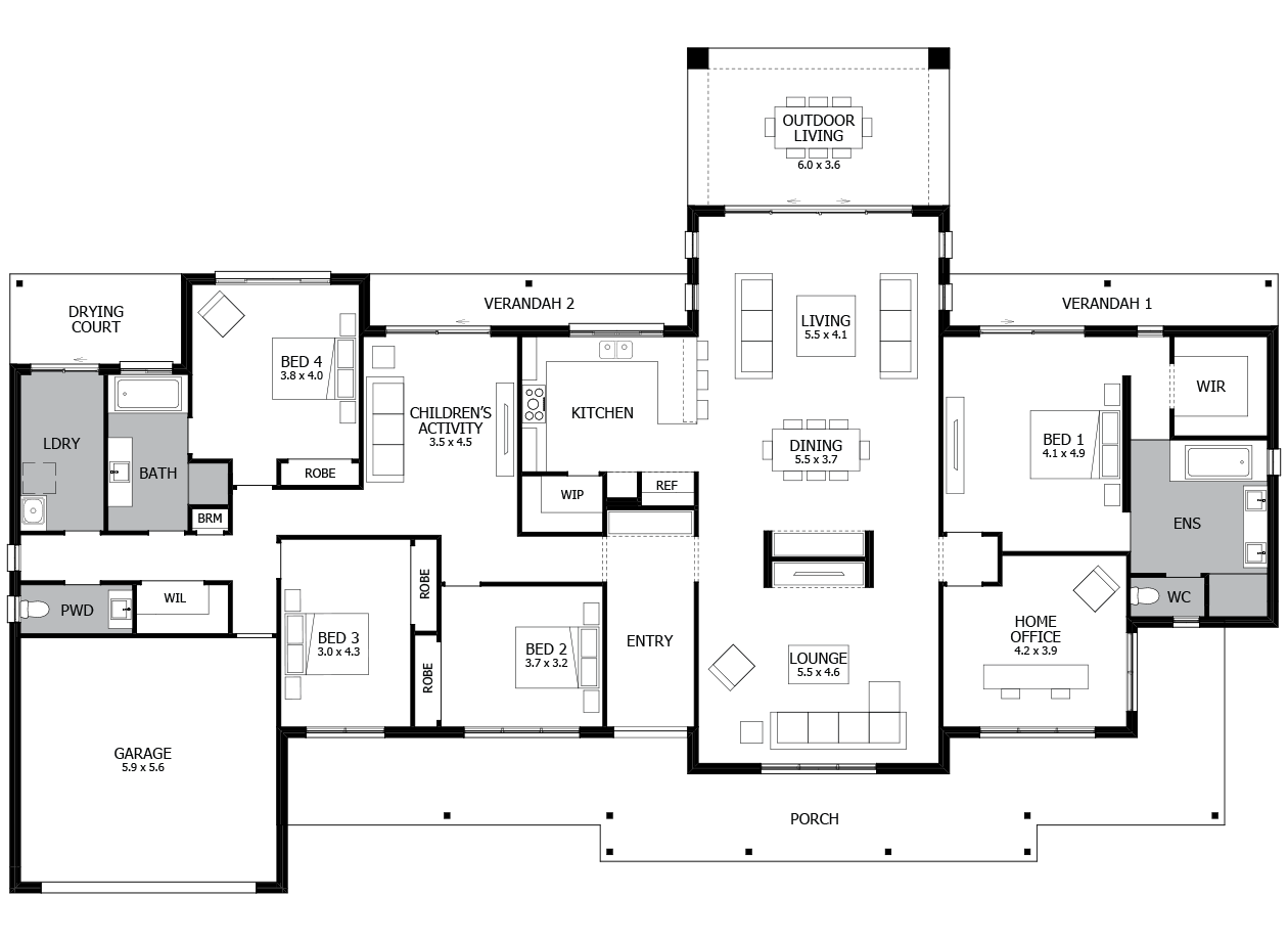 Karri Valley-Acreage House Design-4 bedroom