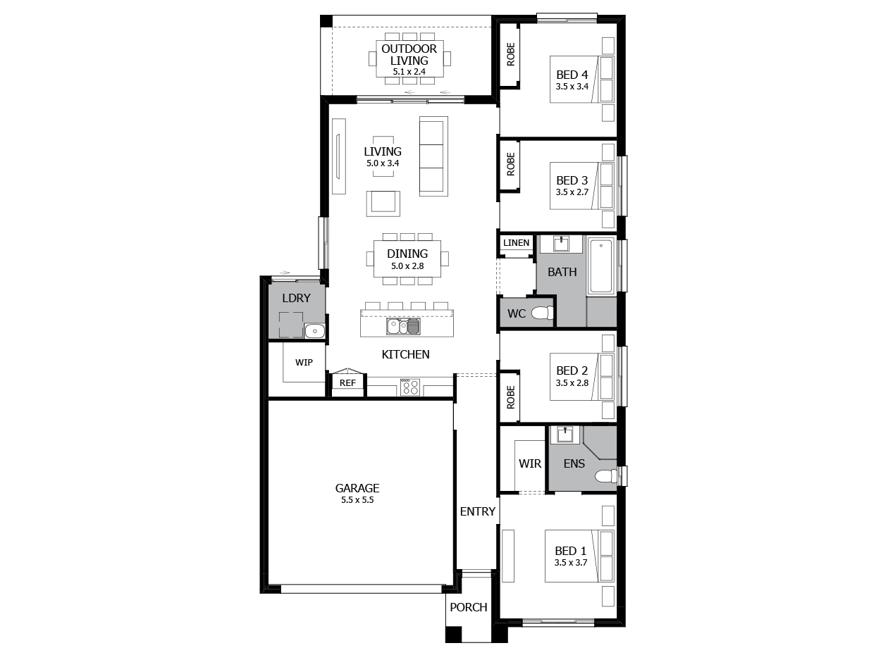 Limbo 19-Single Storey house design-4 Bedroom-LHS