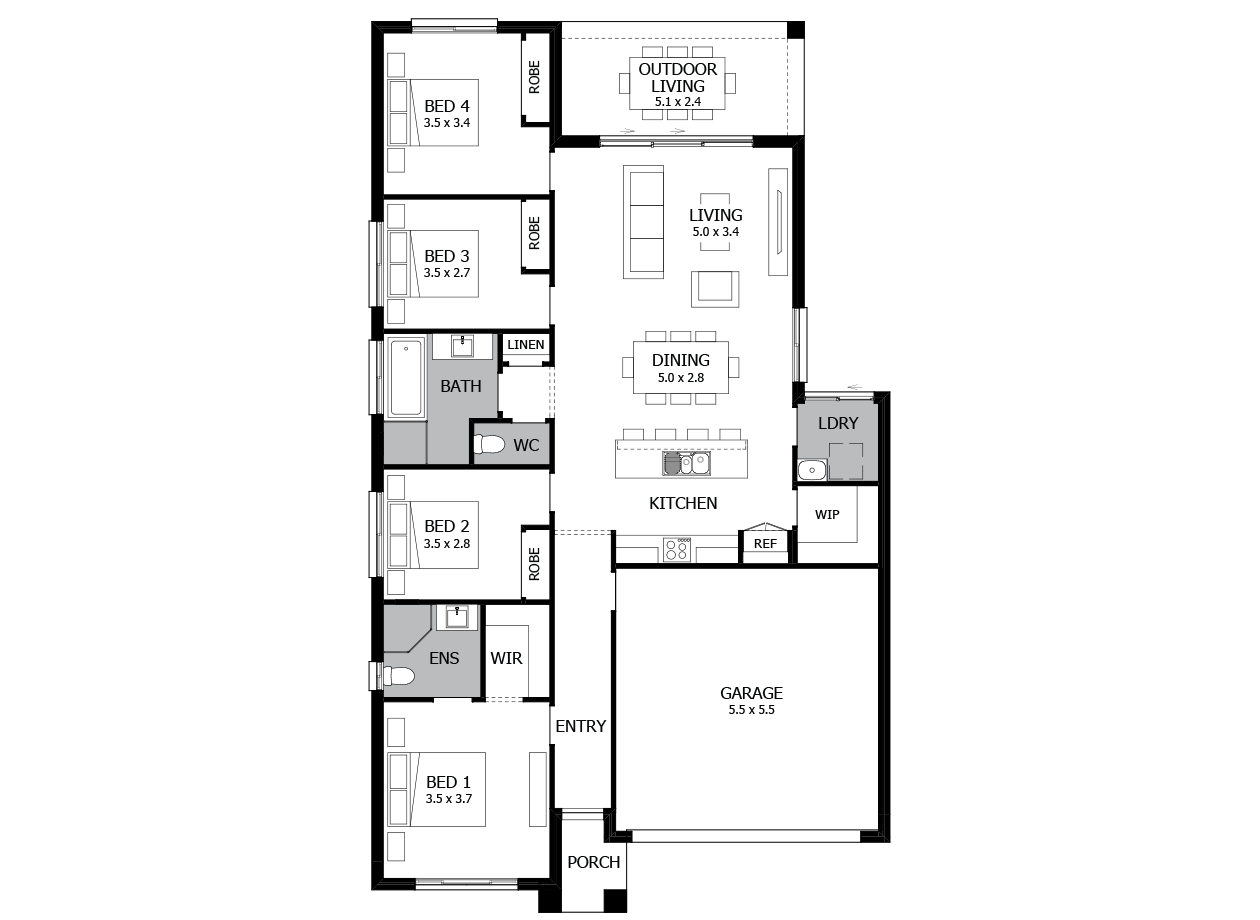 Limbo 19-Single Storey house design-4 Bedroom-RHS