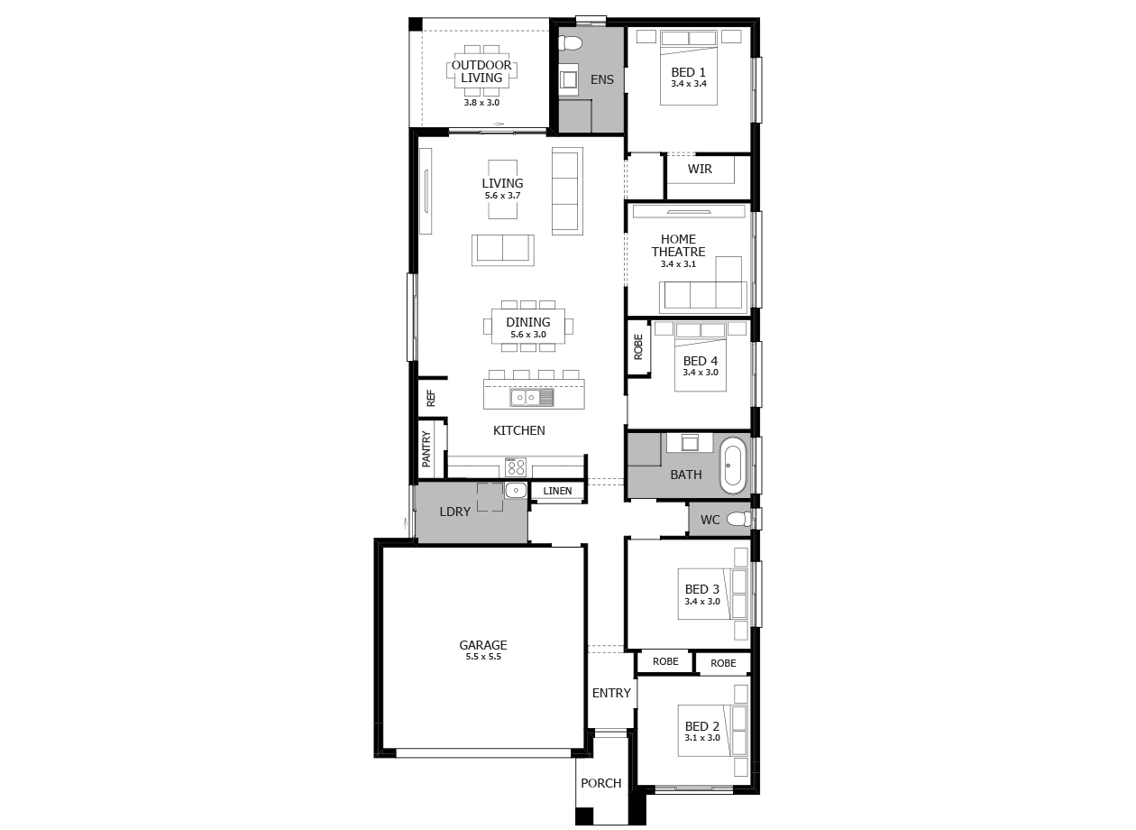 Mambo 22-Single Storey house design-4 Bedroom-LHS