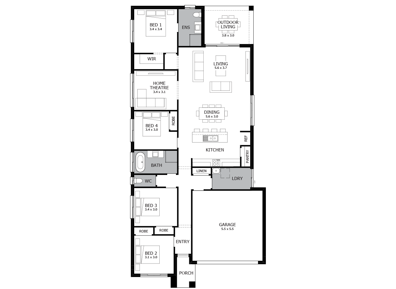Mambo 22-Single Storey house design-4 Bedroom-RHS