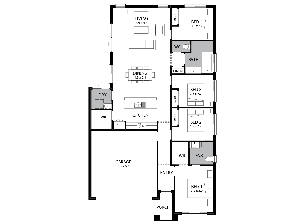 Minuet 18-Single Storey house design-4 Bedroom-LHS
