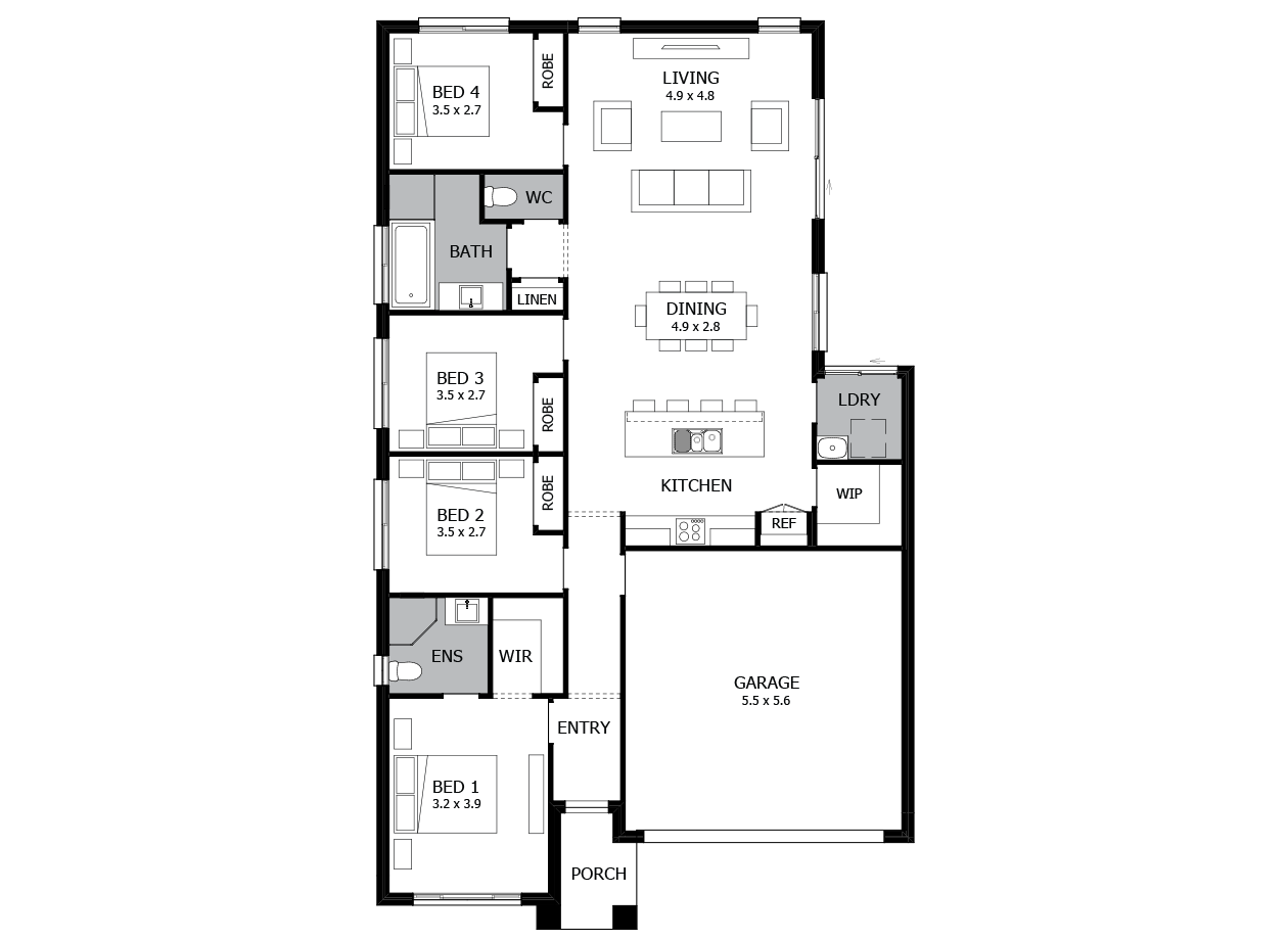 Minuet 18-Single Storey house design-4 Bedroom-RHS