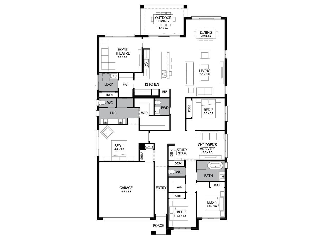 Oasis 30-Single Storey house design-4 Bedroom-LHS