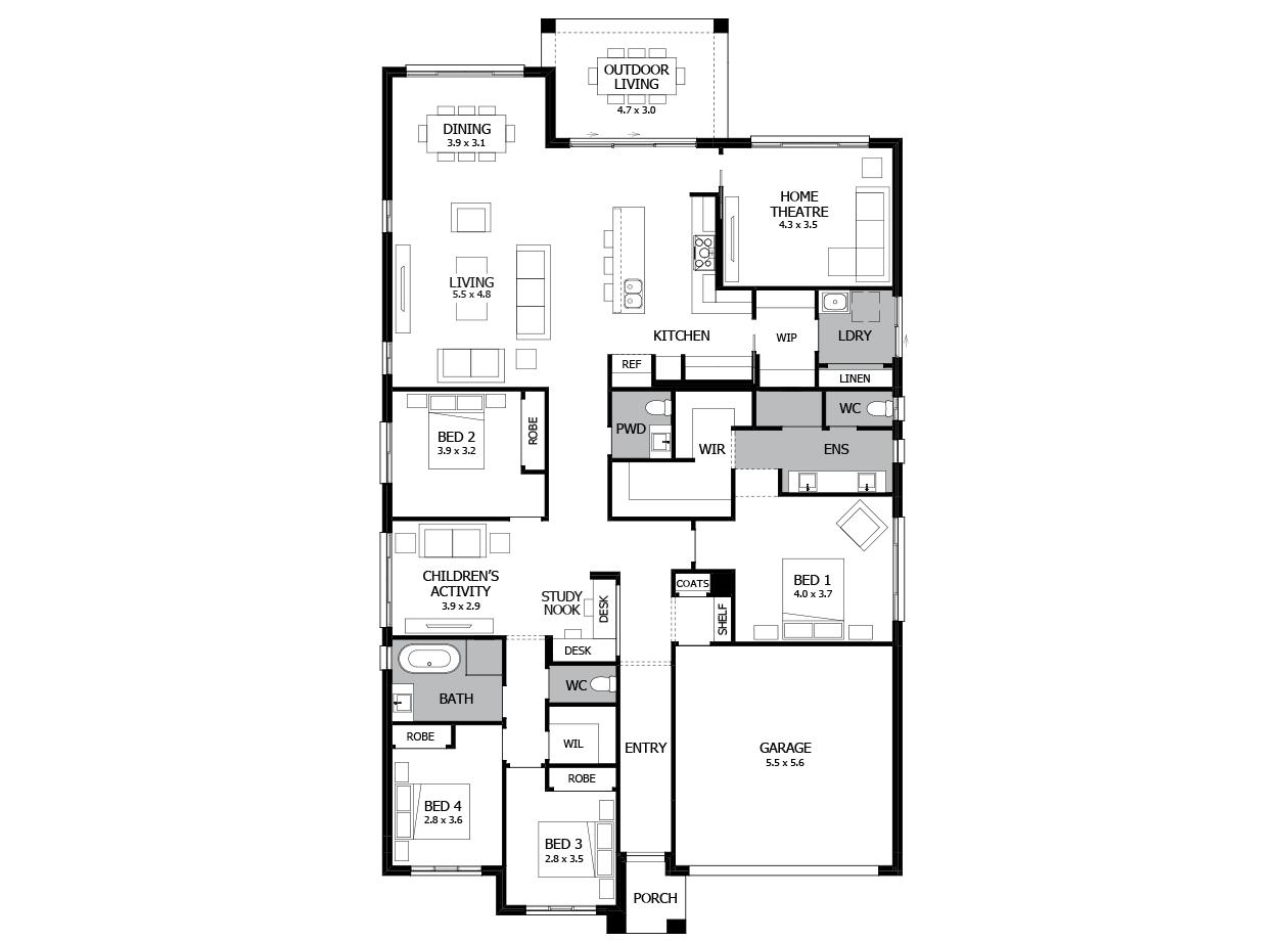 Oasis 30-Single Storey house design-4 Bedroom-RHS
