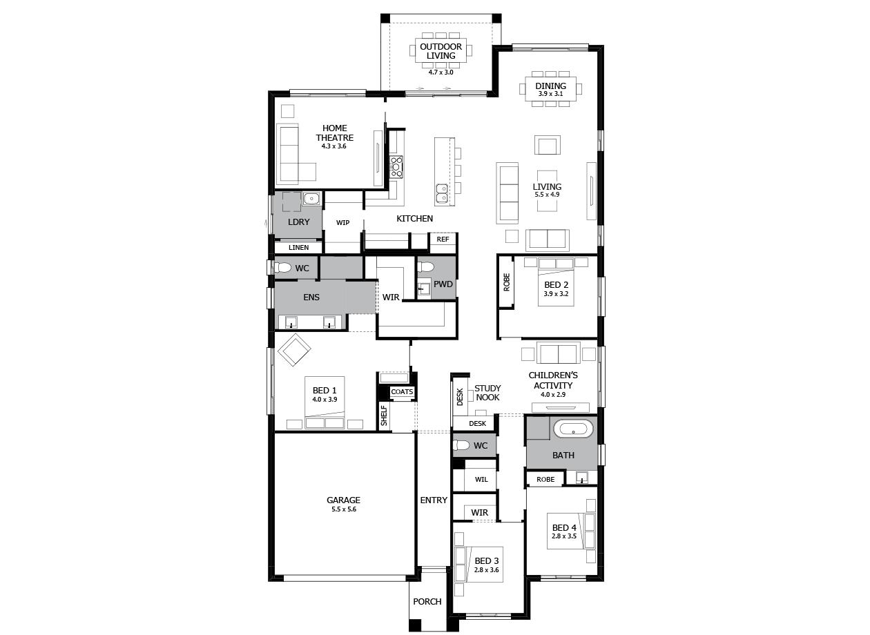Oasis 31-Single Storey house design-4 Bedroom-LHS