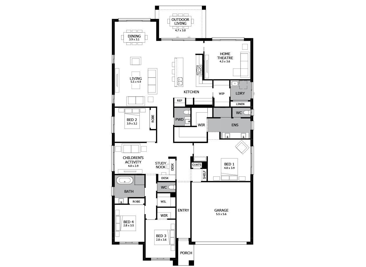 Oasis 31-Single Storey house design-4 Bedroom-RHS