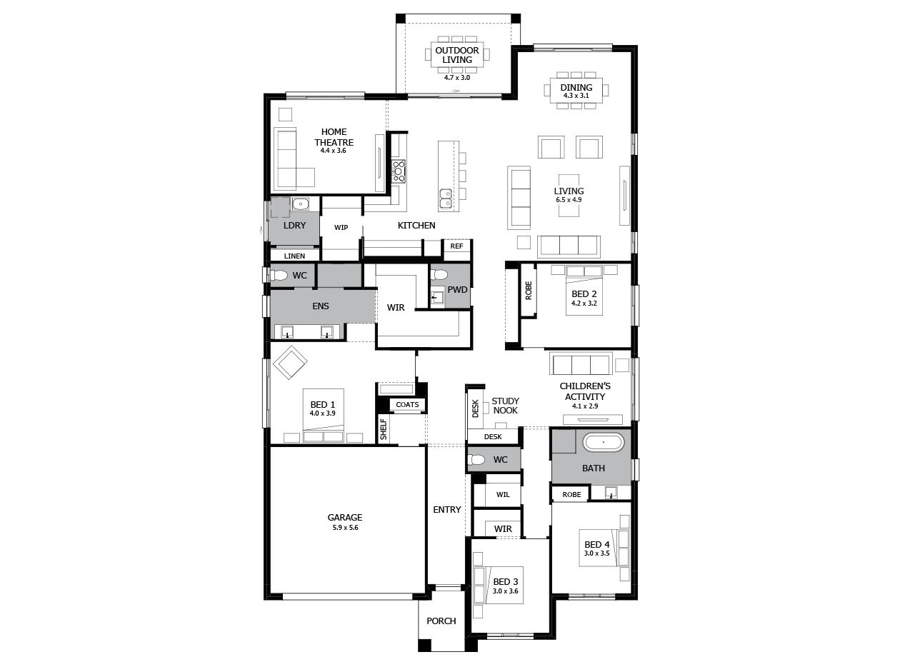 Oasis 33-Single Storey house design-4 Bedroom-LHS