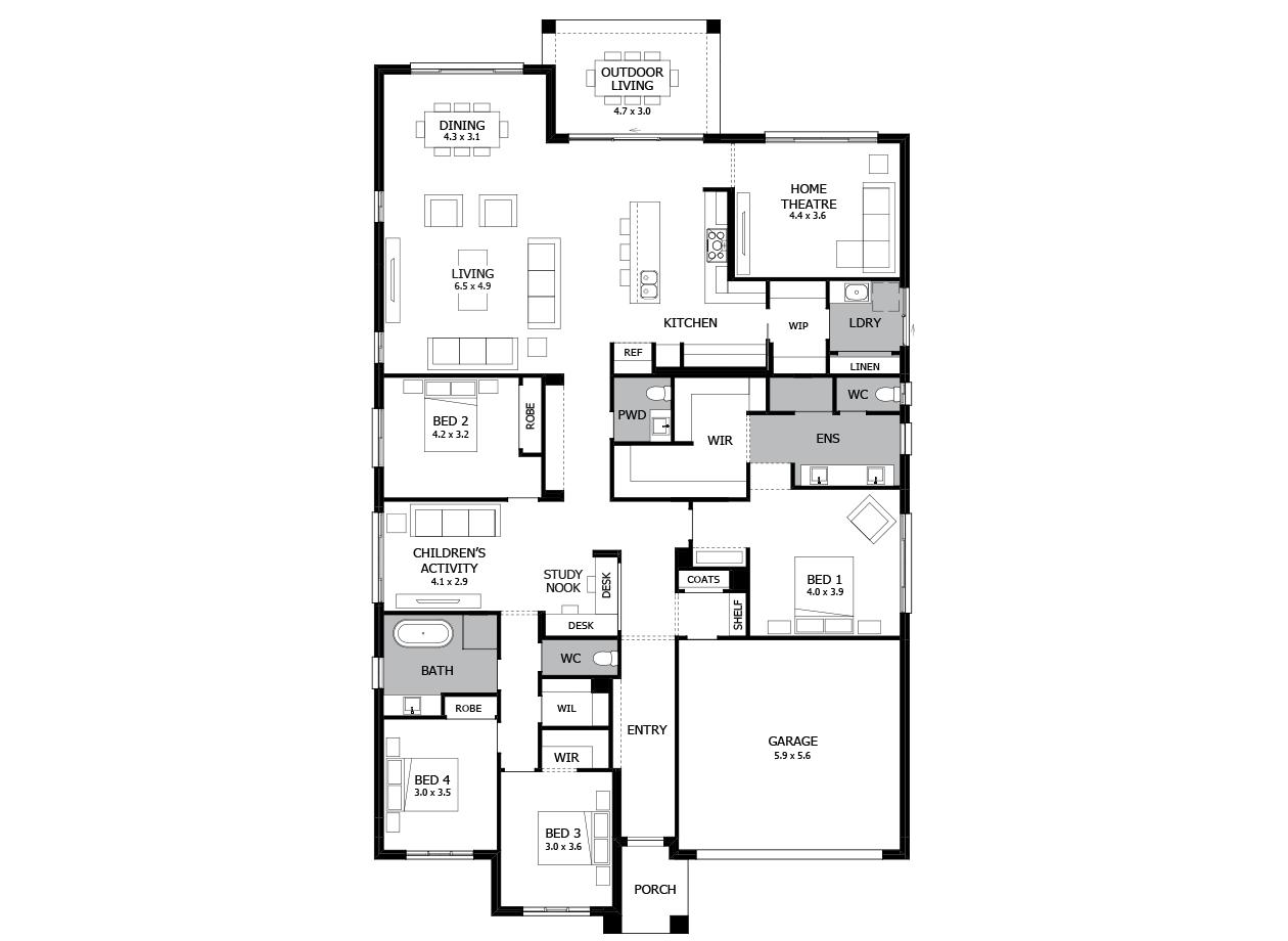 Oasis 33-Single Storey house design-4 Bedroom-RHS
