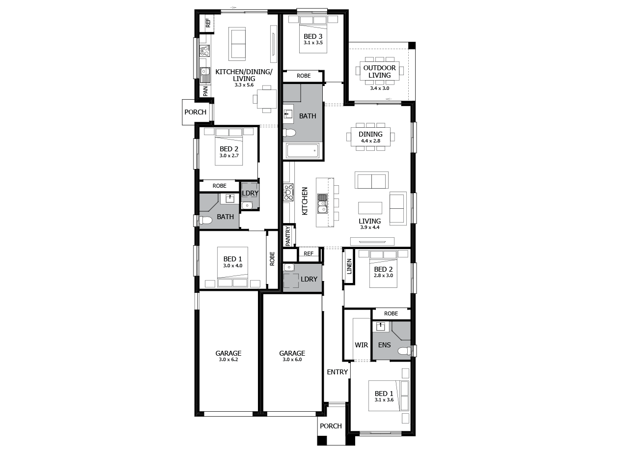 Oxford 25-Dual Living House Plan
