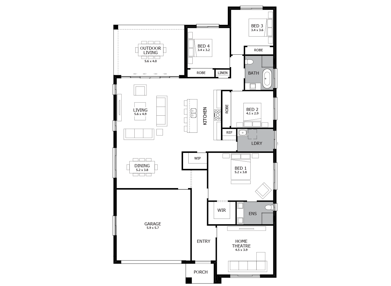 Promenade 28-Single Storey house design-4 Bedroom-LHS