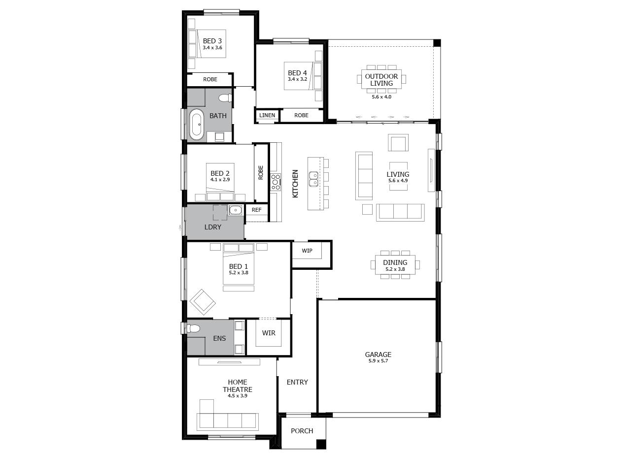 Promenade 28-Single Storey house design-4 Bedroom-RHS