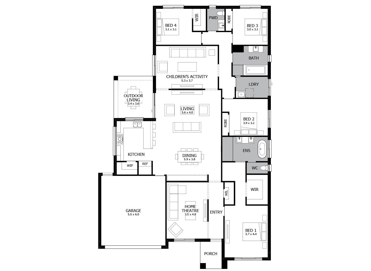Providence 29-Single Storey house design-4 Bedroom-LHS