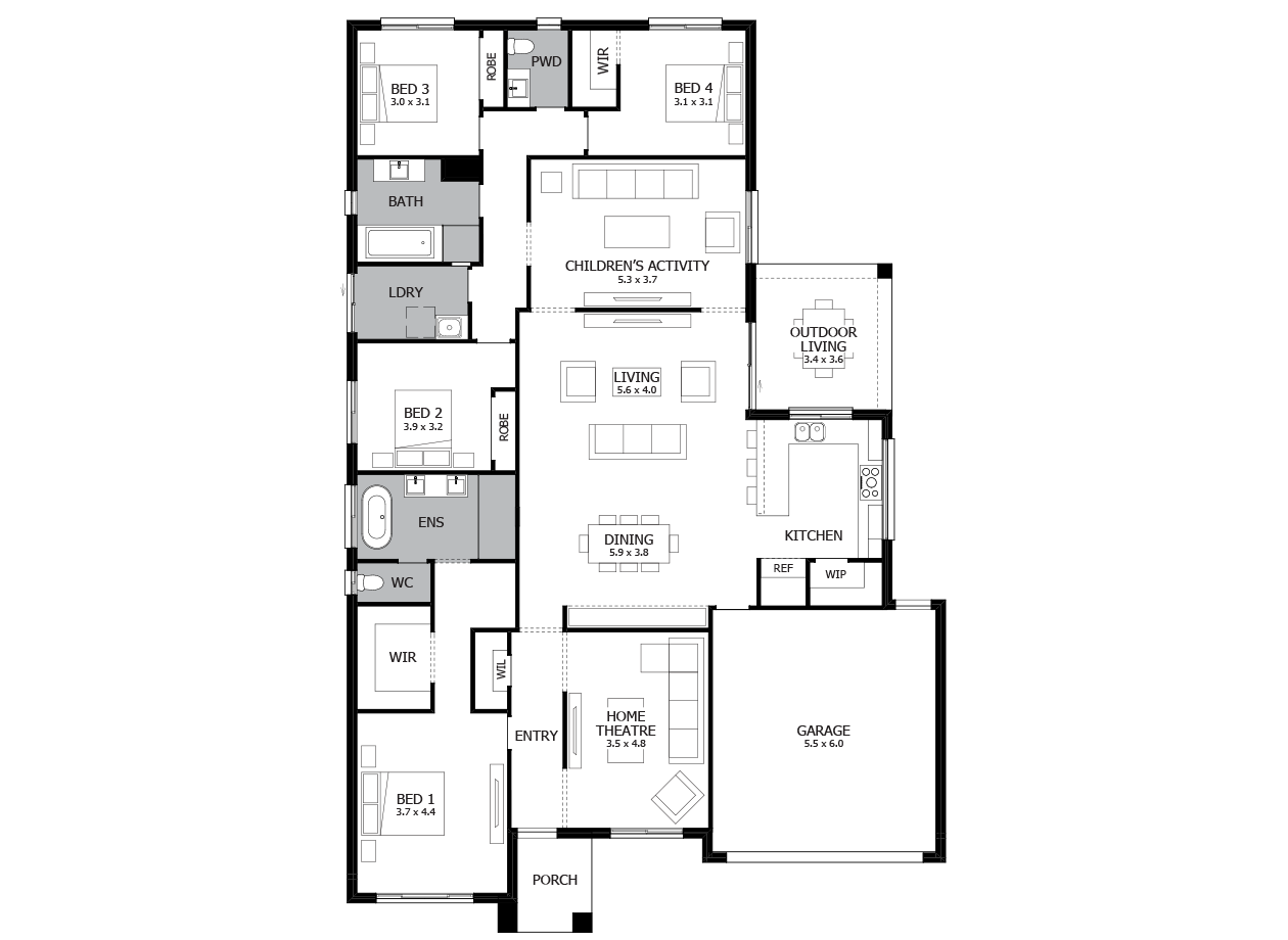 Providence 29-Single Storey house design-4 Bedroom-RHS