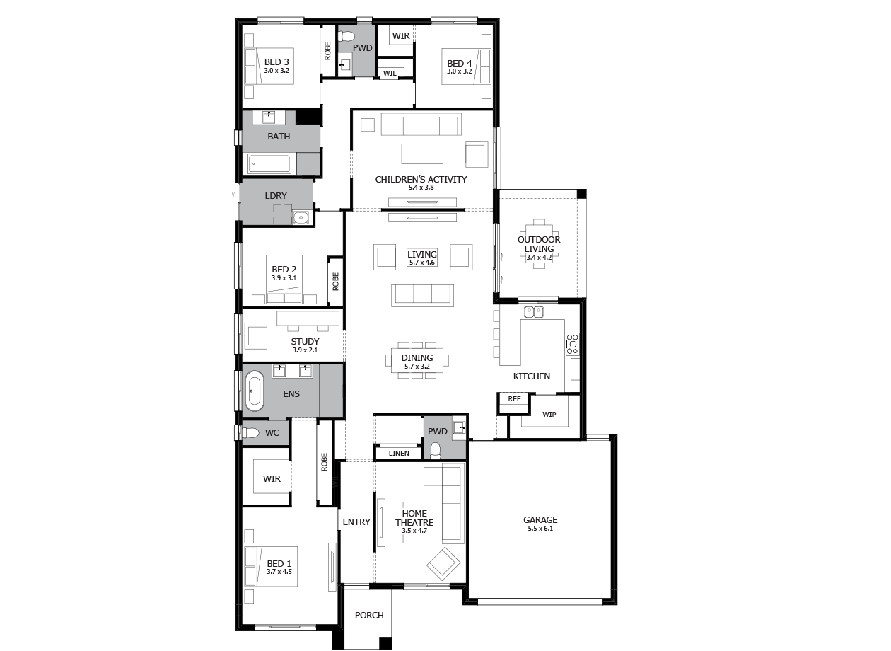 Providence 32-Single Storey house design-4 Bedroom-RHS