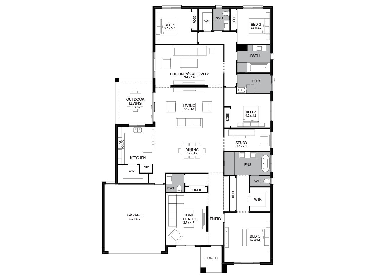 Providence 34-Single Storey house design-4 Bedroom-LHS