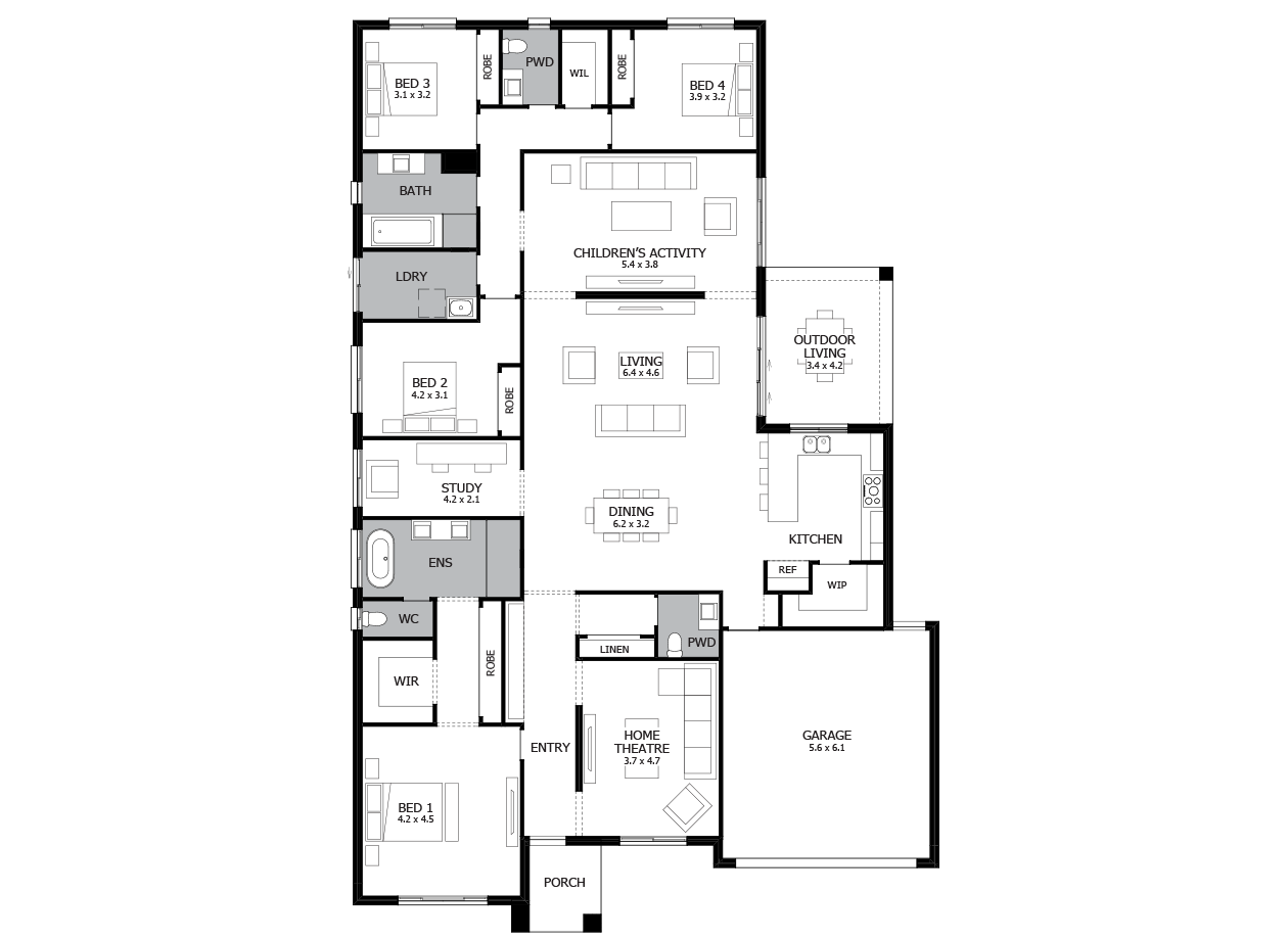 Providence 34-Single Storey house design-4 Bedroom-RHS