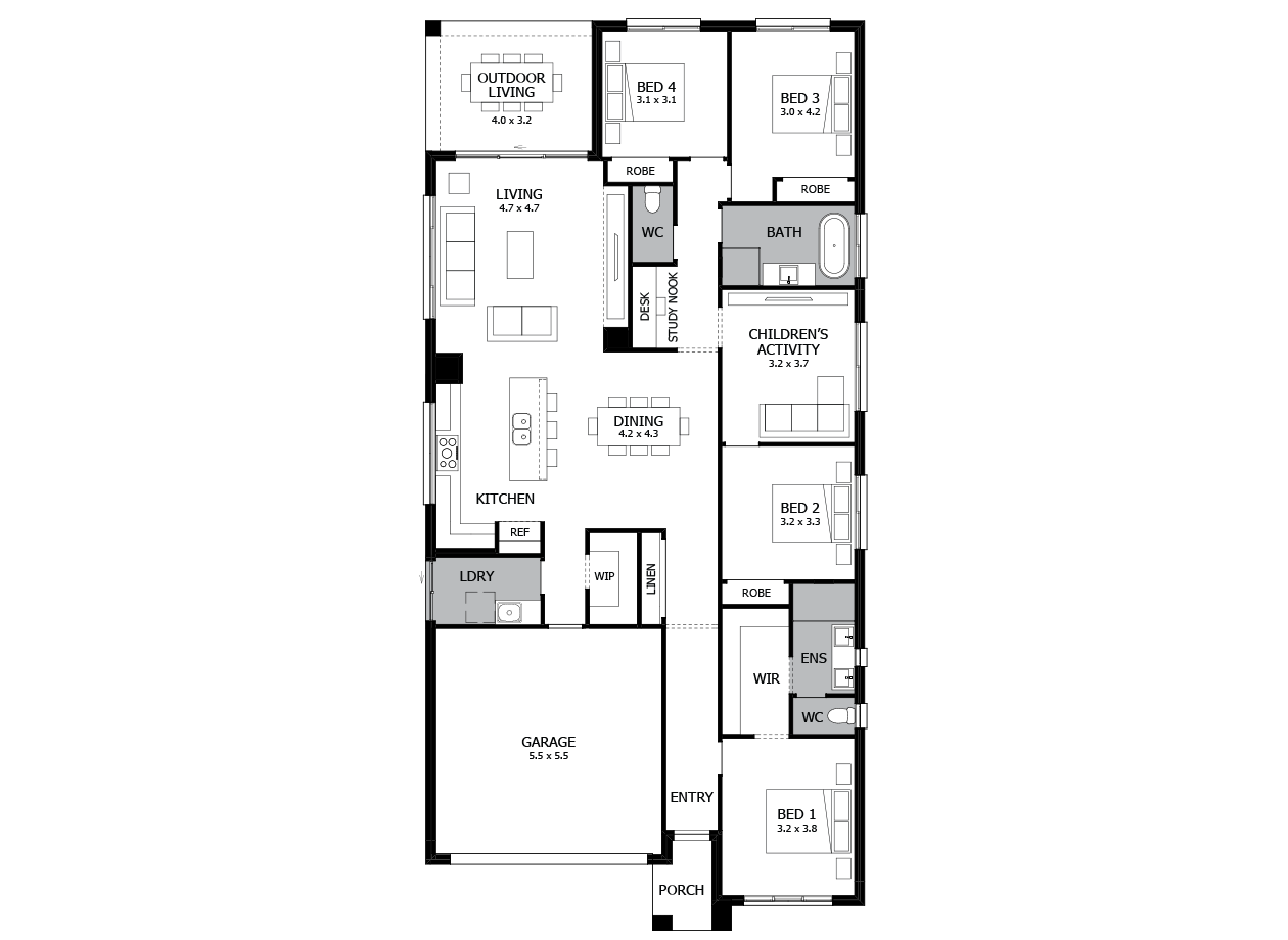 Rhapsody 24-Single Storey house design-4 Bedroom-LHS