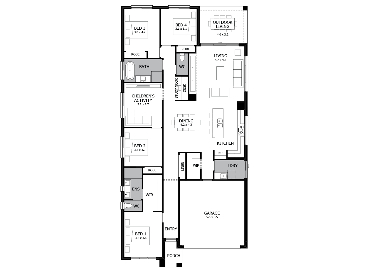 Rhapsody 24-Single Storey house design-4 Bedroom-RHS