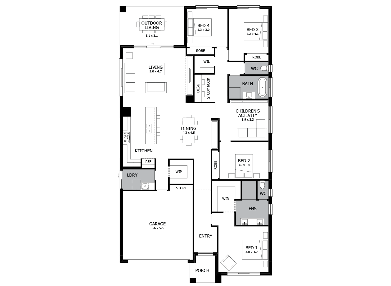 Rhapsody 28-Single Storey house design-4 Bedroom-LHS