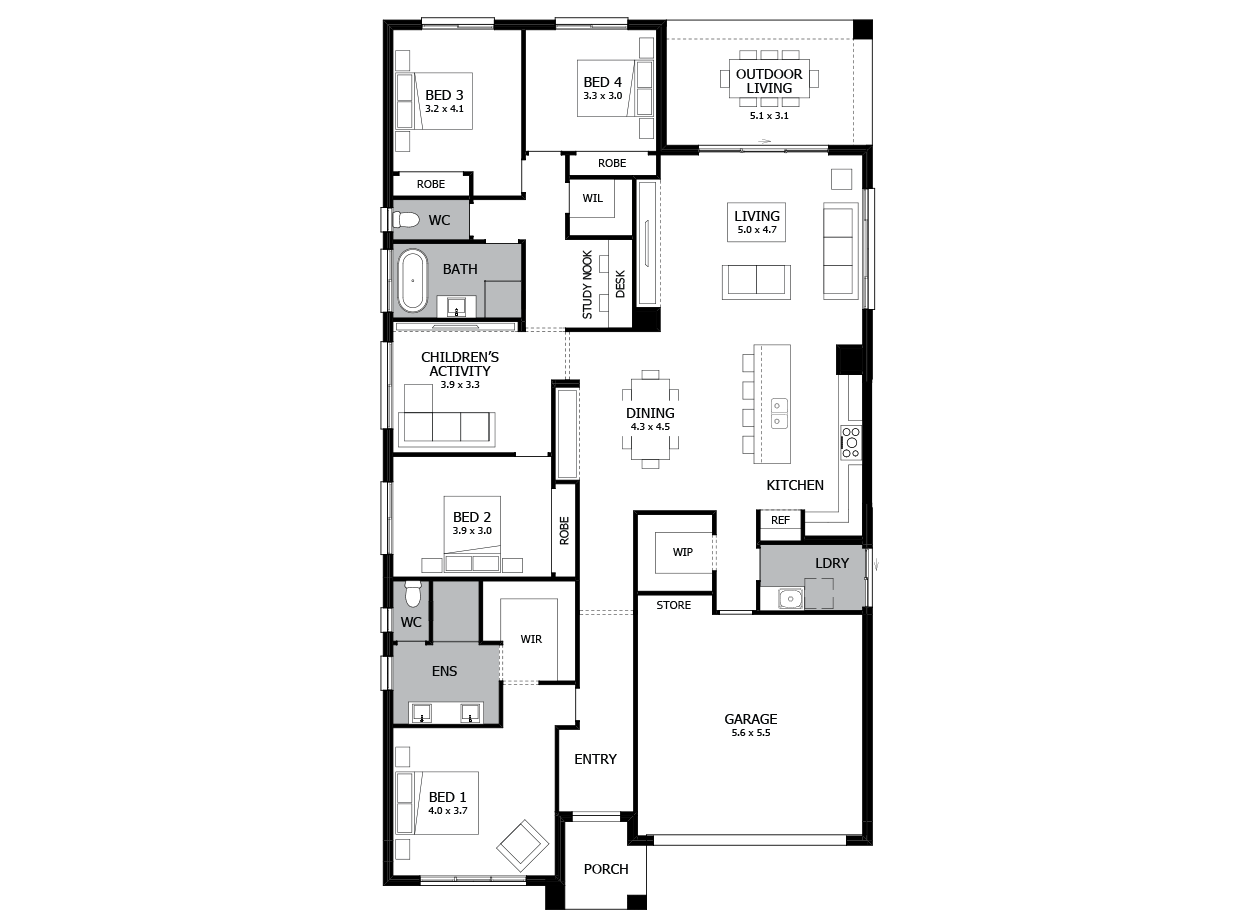 Rhapsody 28-Single Storey house design-4 Bedroom-RHS