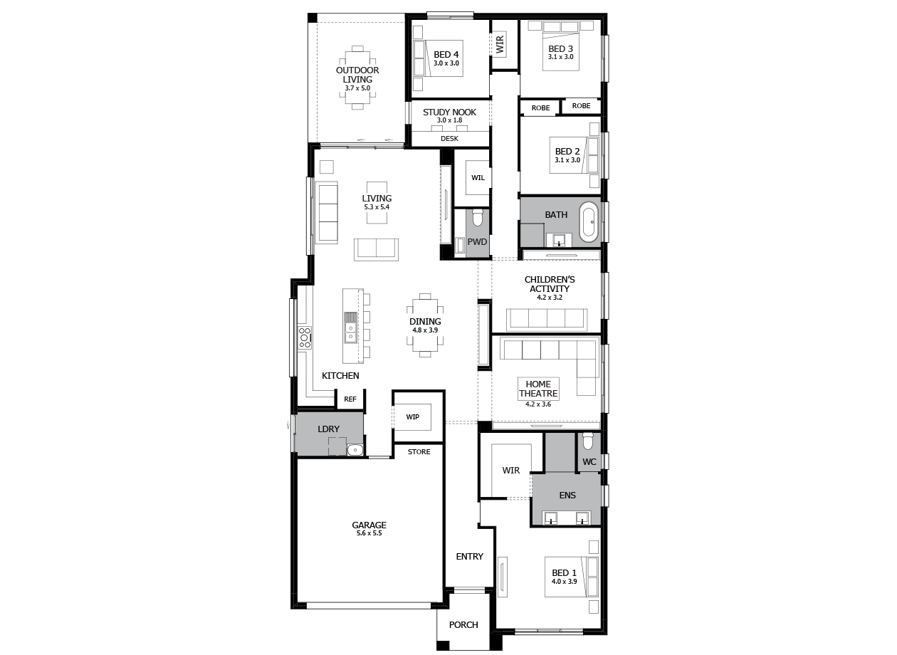 Rhapsody 30-Single Storey house design-4 Bedroom-LHS