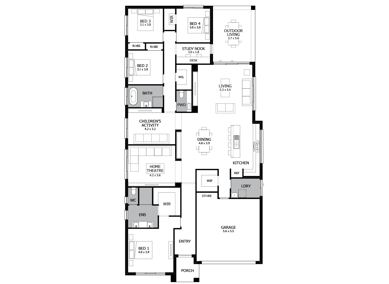 Rhapsody 30-Single Storey house design-4 Bedroom-RHS