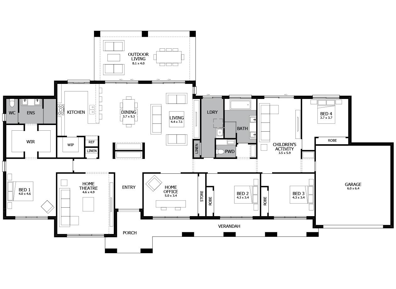 Roxbury 41-Acreage House Design-4 bedroom