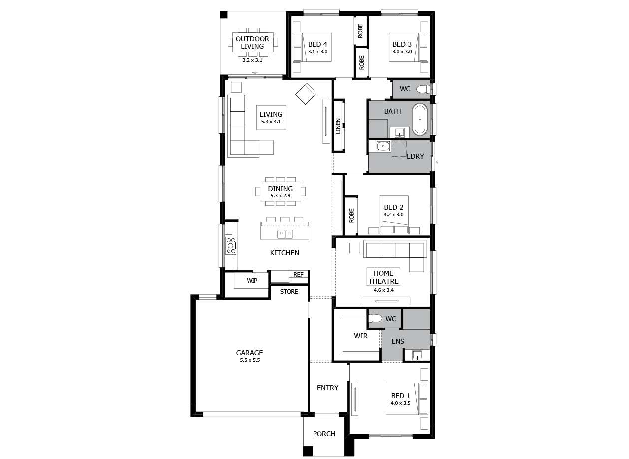 Rumba 24-Single Storey house design-4 Bedroom-LHS
