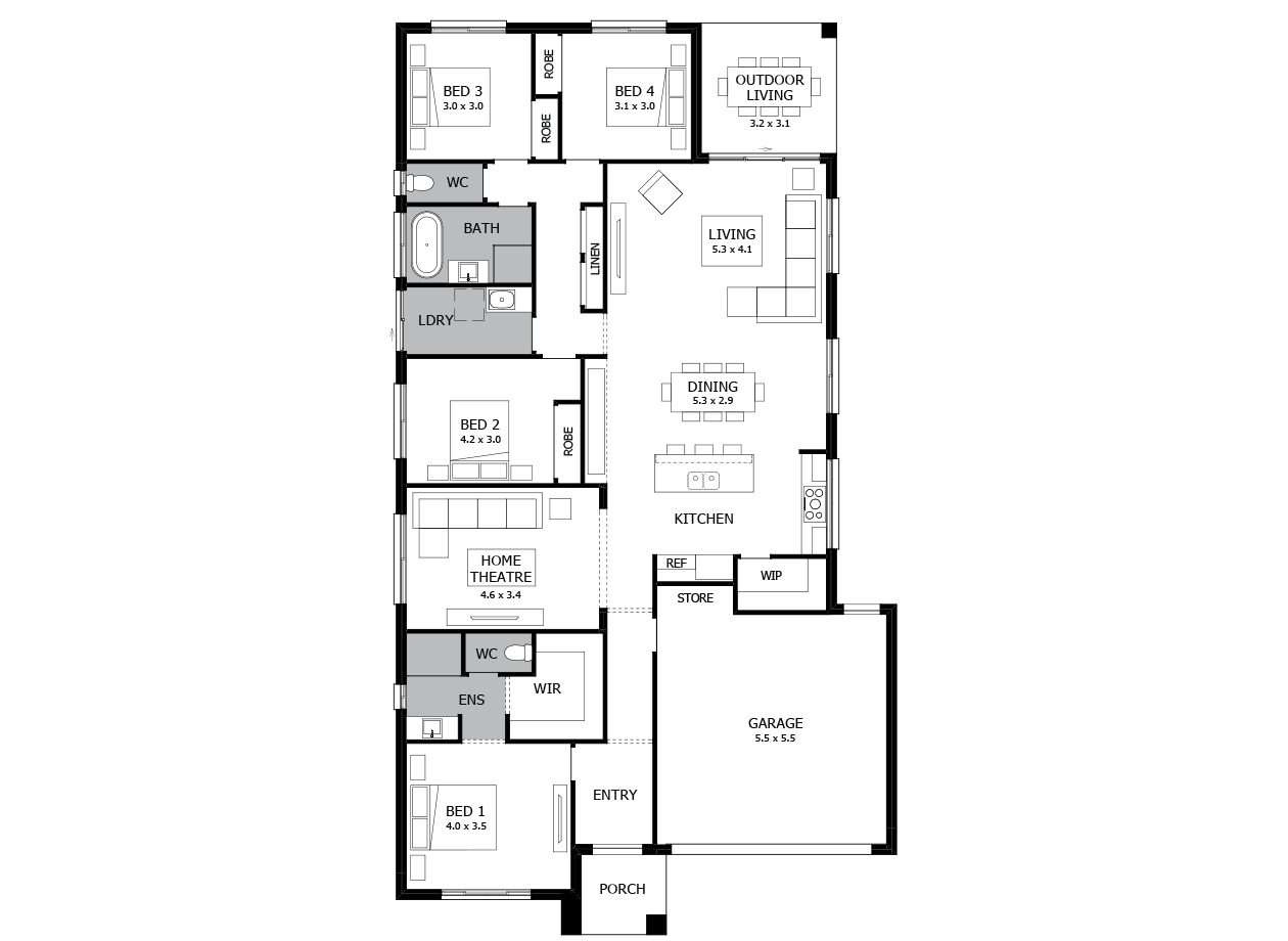 Rumba 24-Single Storey house design-4 Bedroom-RHS