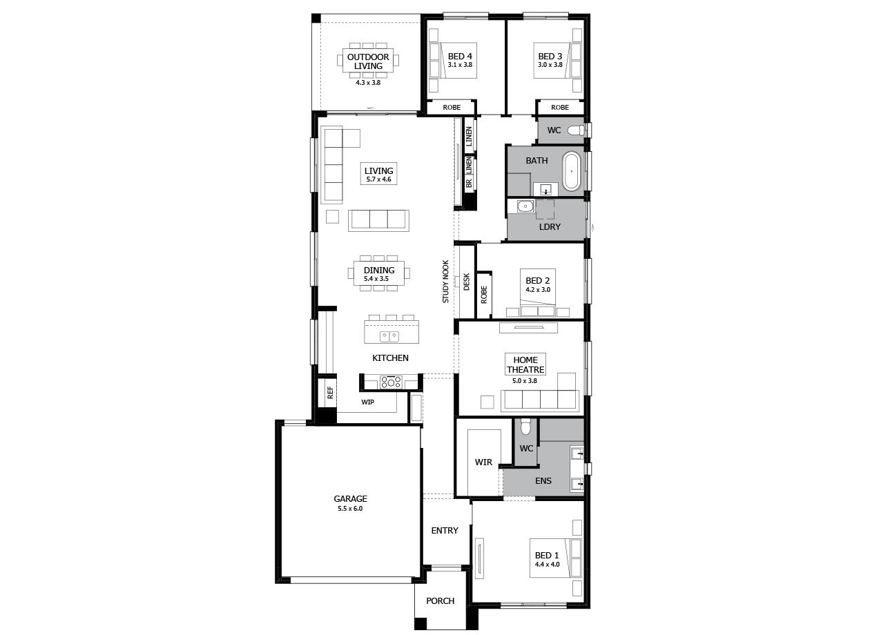 Rumba 29-Single Storey house design-4 Bedroom-LHS