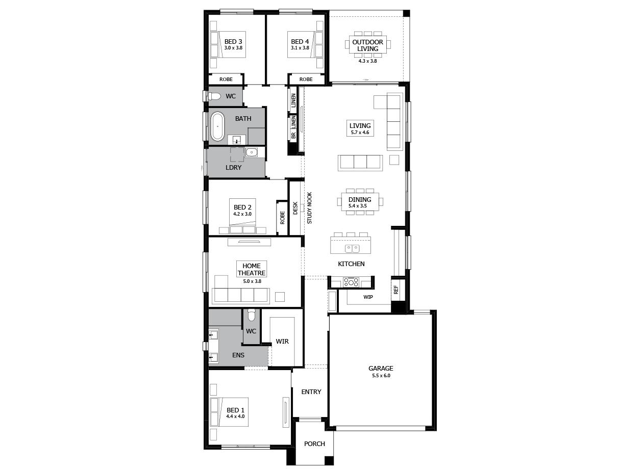 Rumba 29-Single Storey house design-4 Bedroom-RHS