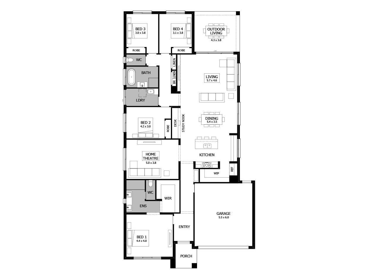 Rumba 29-Single Storey house design-4 Bedroom