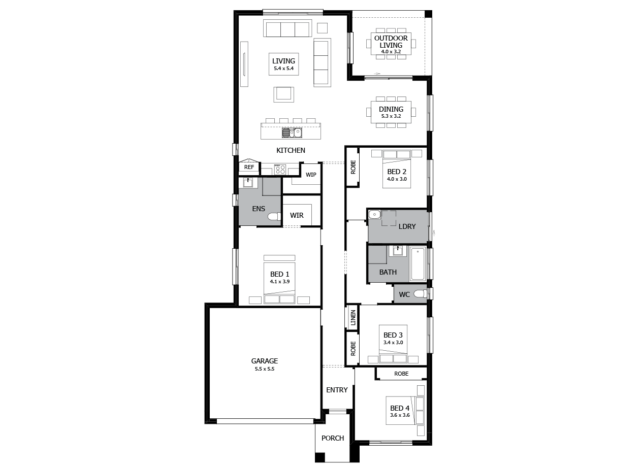 Salsa 23-Single Storey house design-4 Bedroom-LHS