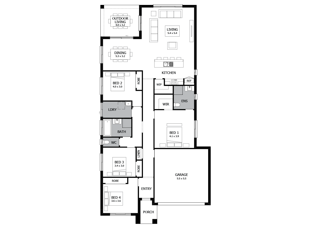 Salsa 23-Single Storey house design-4 Bedroom-RHS