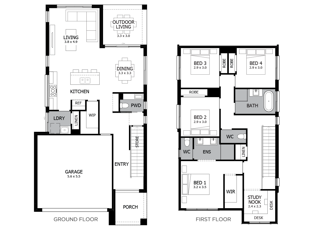 Saratoga 24-Double Storey House Design-4 Bedroom