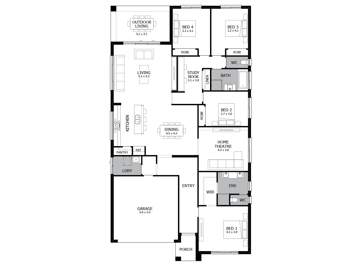 Savannah 28-Single Storey house design-4 Bedroom-LHS