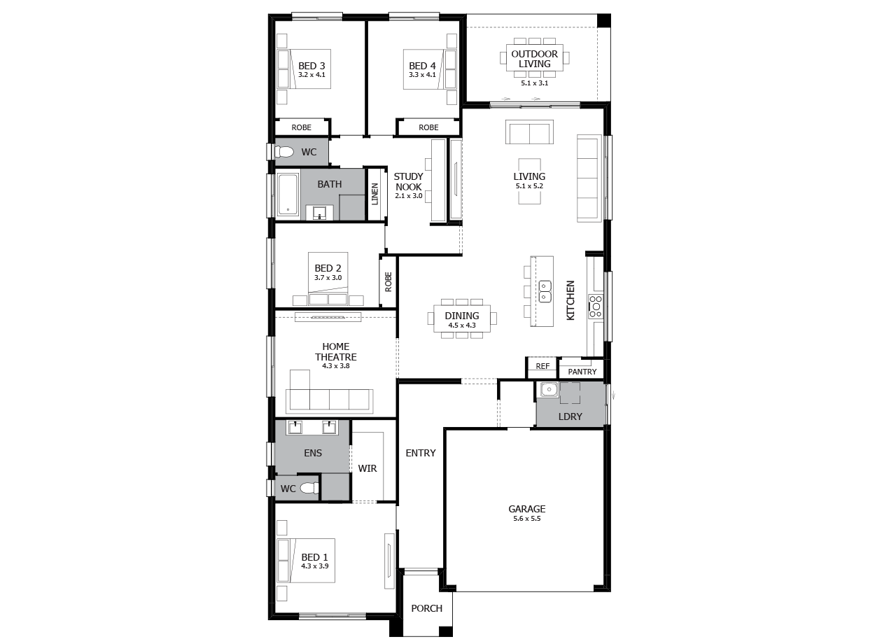 Savannah 28-Single Storey house design-4 Bedroom-RHS