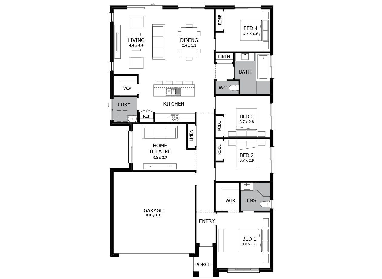 Shuffle 20-Single Storey house design-4 Bedroom-LHS