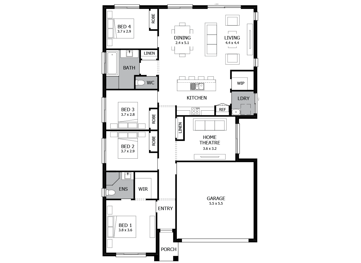 Shuffle 20-Single Storey house design-4 Bedroom-RHS