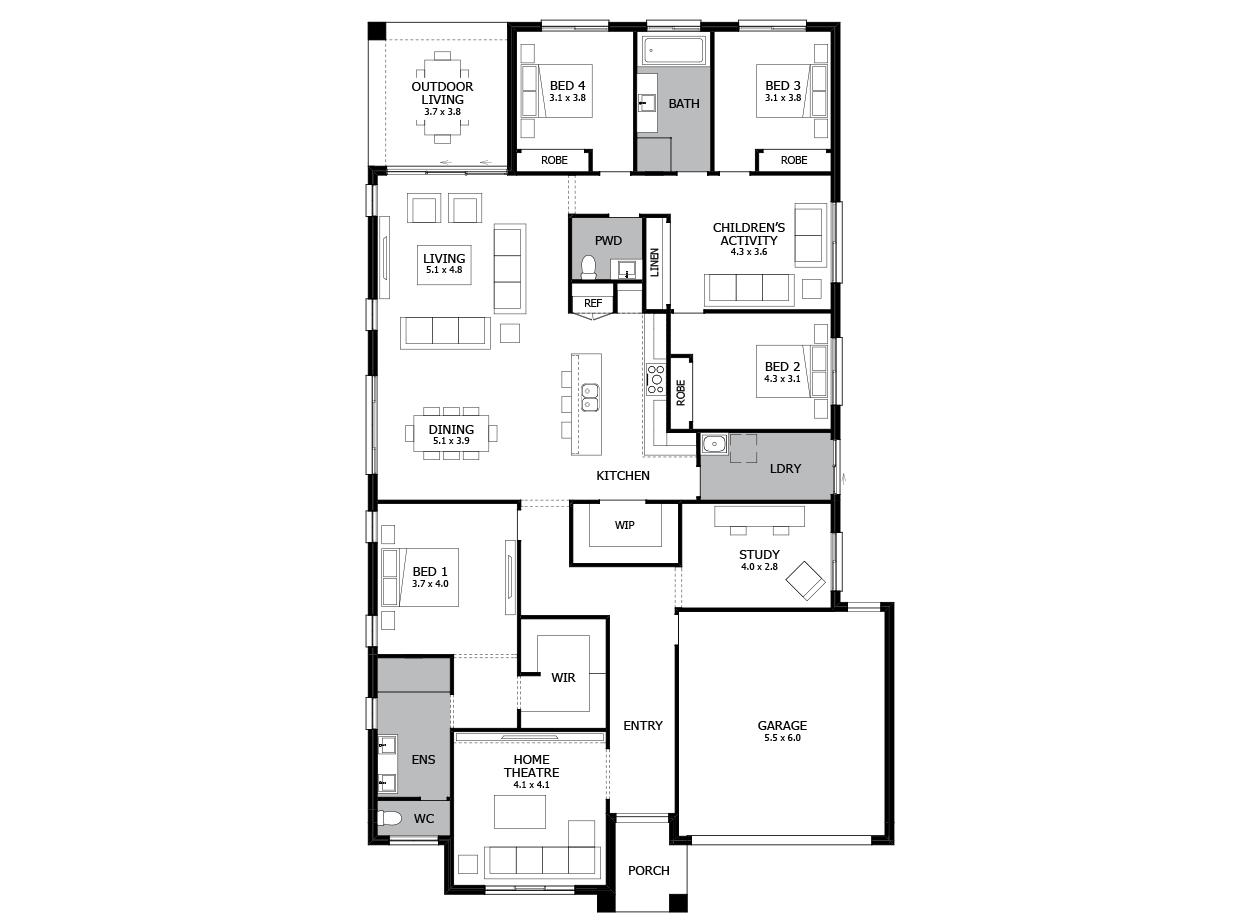 Soho 32-Single Storey house design-4 Bedroom-RHS