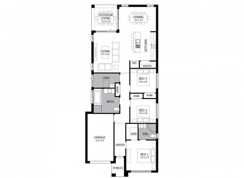 Jazz 17-Single Storey House Plan-LHS
