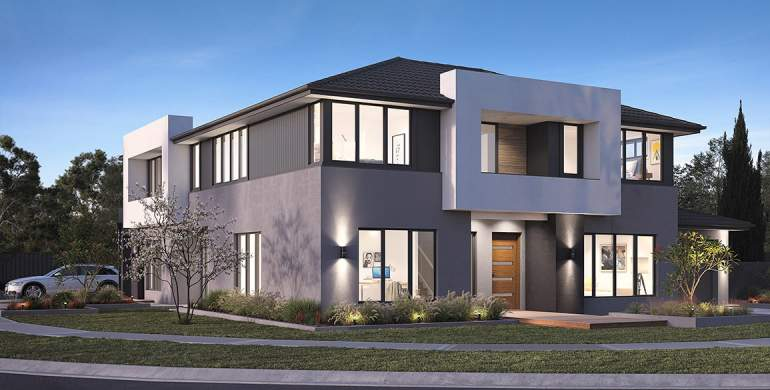 Albion-Duplex house plan-Contemporary facade