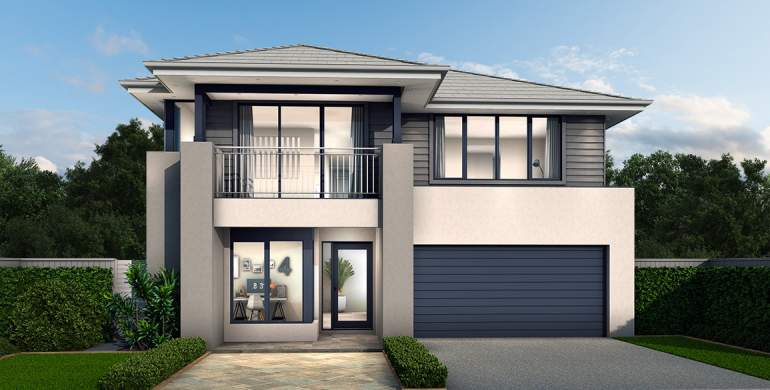 Chevron Double Storey House Design- Coastal Hamptons Facade